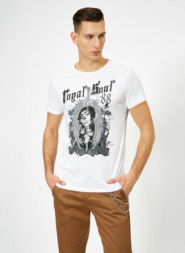 Koton Yazılı Baskılı T-Shirt Beyaz